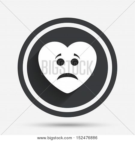 Sad heart face sign icon. Sadness depression chat symbol. Circle flat button with shadow and border. Vector