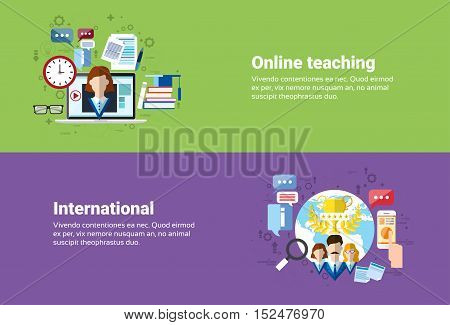 International Social Media Network Internet Connection Communication, Teaching Online Web Education Banner Flat Vector Illustration