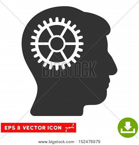 Intellect Cog EPS vector pictogram. Illustration style is flat iconic gray symbol on white background.