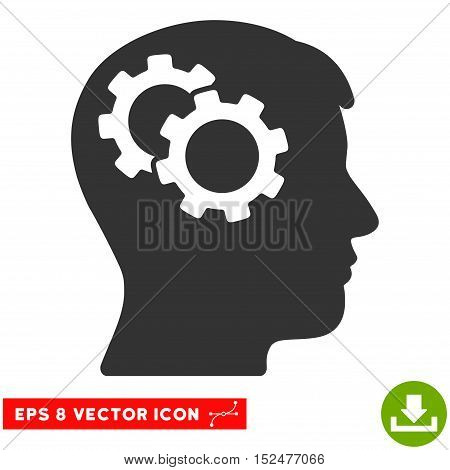 Intellect Gears EPS vector pictogram. Illustration style is flat iconic gray symbol on white background.