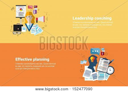 Leadership Coaching Management Effective Planning Strategy Business Web Banner Flat Vector Illustration