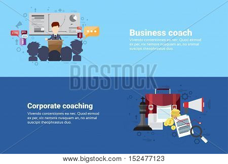 Leadership Corporate Coaching Management Business Web Banner Flat Vector Illustration