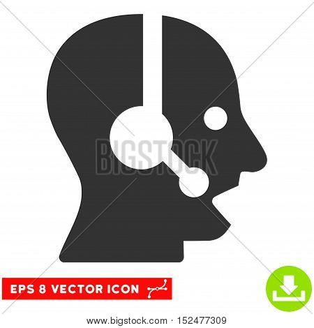 Operator EPS vector pictograph. Illustration style is flat iconic gray symbol on white background.