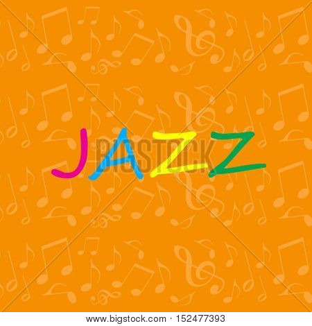 Jazz music illustration with notes on orange background