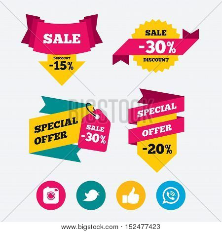 Hipster photo camera icon. Like and Call speech bubble sign. Bird symbol. Social media icons. Web stickers, banners and labels. Sale discount tags. Special offer signs. Vector