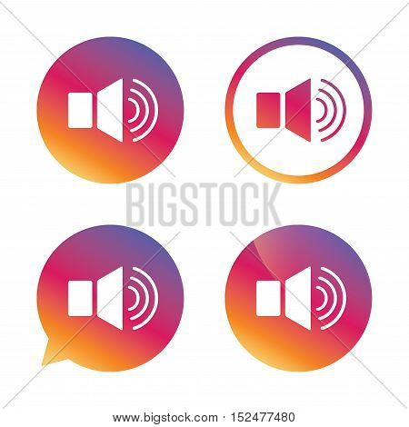 Speaker volume sign icon. Sound symbol. Gradient buttons with flat icon. Speech bubble sign. Vector