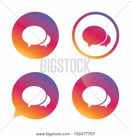 Speech bubbles icon. Chat or blogging sign. Communication symbol. Gradient buttons with flat icon. Speech bubble sign. Vector