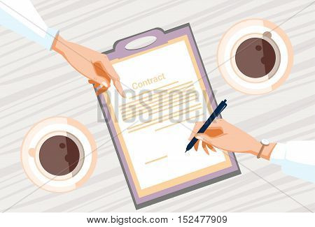 Contract Sign Up Paper Document Business People Agreement Pen Signature Office Desk Flat Vector Illustration