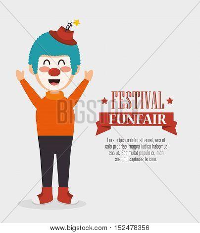 poster funny clown festival funfair vector illustration eps 10