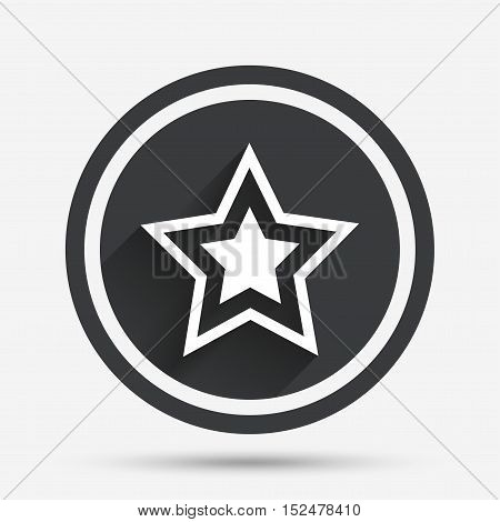 Star sign icon. Favorite button. Navigation symbol. Circle flat button with shadow and border. Vector