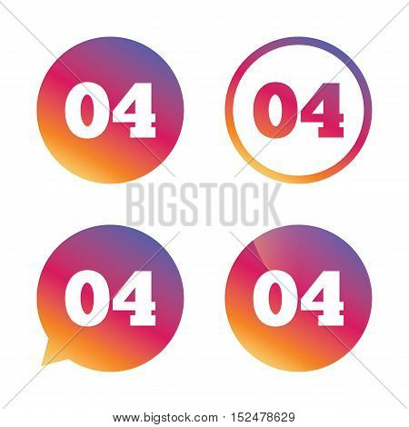 Fourth step sign. Loading process symbol. Step four. Gradient buttons with flat icon. Speech bubble sign. Vector