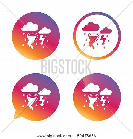 Storm bad weather sign icon. Clouds with thunderstorm. Gale hurricane symbol. Destruction and disaster from wind. Insurance symbol. Gradient buttons with flat icon. Speech bubble sign. Vector