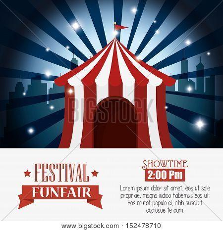 poster tent festival funfair city background vector illustration eps 10