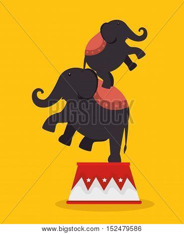 elephants acrobats festival funfair vector illustration eps 10