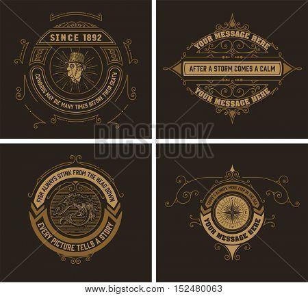 vintage logo templates, Hotel, Restaurant, Business or Boutique Identity. Design with Flourishes Elegant Design Elements. Royalty. Vector Illustration