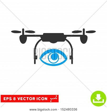 Eye Spy Drone EPS vector pictogram. Illustration style is flat iconic bicolor blue and gray symbol on white background.