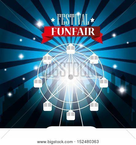 poster festival funfair ferris wheel city background vector illustration eps 10