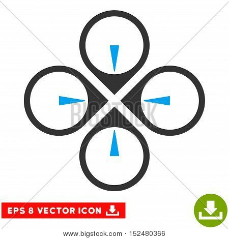 Fly Drone EPS vector pictogram. Illustration style is flat iconic bicolor blue and gray symbol on white background.