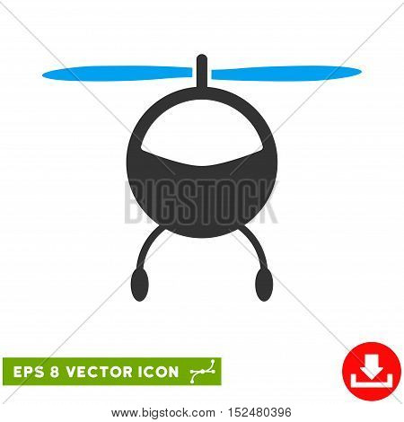 Helicopter EPS vector icon. Illustration style is flat iconic bicolor blue and gray symbol on white background.