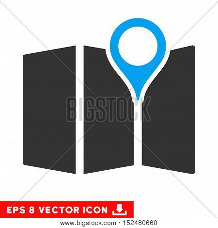Map EPS vector pictograph. Illustration style is flat iconic bicolor blue and gray symbol on white background.