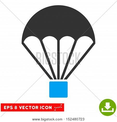 Parachute EPS vector pictograph. Illustration style is flat iconic bicolor blue and gray symbol on white background.