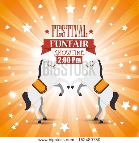 poster festival funfair horses entertainment vector illustration eps 10