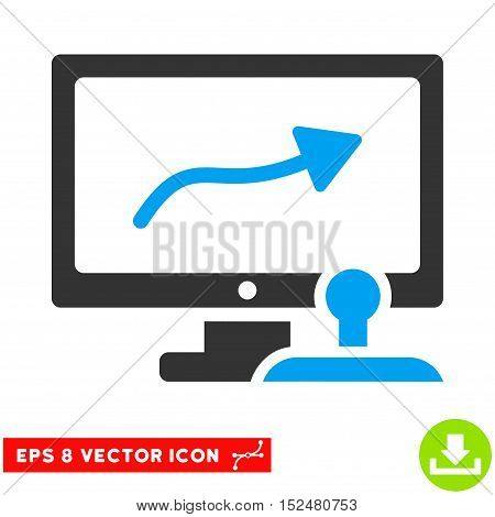 Path Control Monitor EPS vector pictogram. Illustration style is flat iconic bicolor blue and gray symbol on white background.
