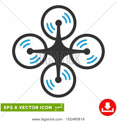 Quadcopter Screw Rotation EPS vector pictograph. Illustration style is flat iconic bicolor blue and gray symbol on white background.