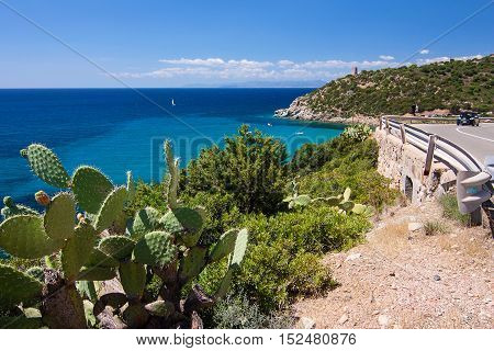 View on the sea and the Spanish tower in Cala Regina. Location closed to Cagliari Sardinia Italy.