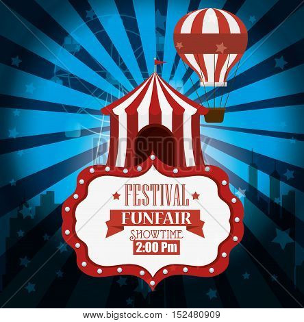 poster festival funfair tent airballoon light background vector illustration eps 10