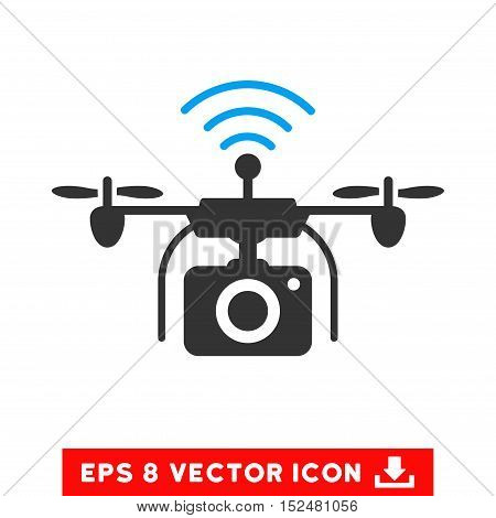 Radio Camera Drone EPS vector pictograph. Illustration style is flat iconic bicolor blue and gray symbol on white background.