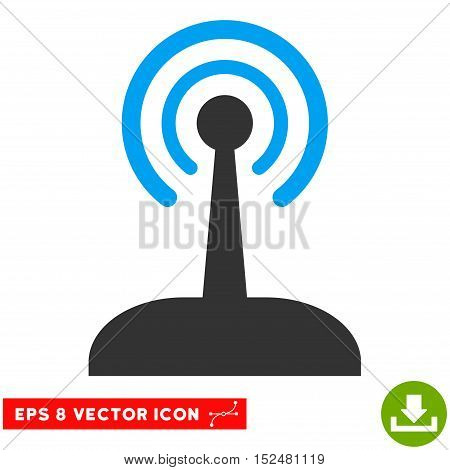 Radio Control Joystick EPS vector pictograph. Illustration style is flat iconic bicolor blue and gray symbol on white background.