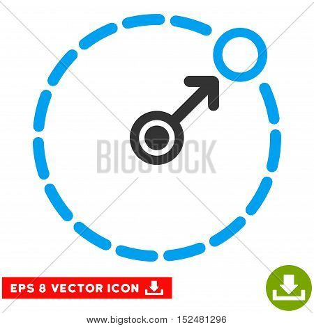 Round Area Border EPS vector pictogram. Illustration style is flat iconic bicolor blue and gray symbol on white background.