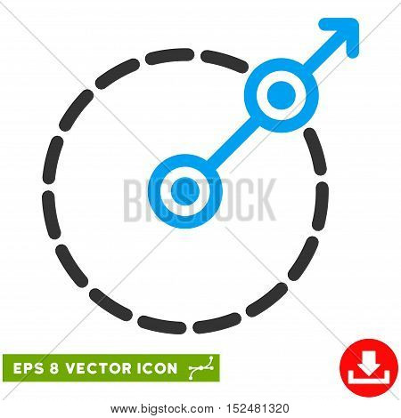 Round Area Exit EPS vector icon. Illustration style is flat iconic bicolor blue and gray symbol on white background.