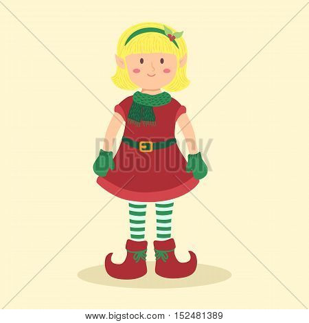 Vector illustration of christmas greeting card with elf blonde girl.