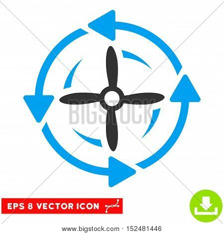 Screw Rotation EPS vector pictogram. Illustration style is flat iconic bicolor blue and gray symbol on white background.