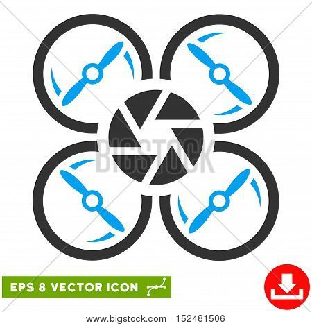 Shutter Drone EPS vector pictograph. Illustration style is flat iconic bicolor blue and gray symbol on white background.