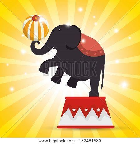 elephant balance festival funfair vector illustration eps 10