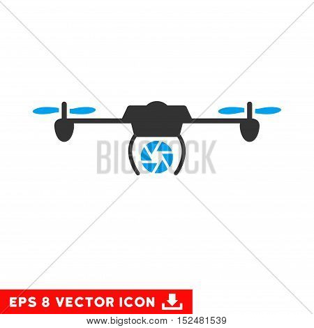 Shutter Spy Airdrone EPS vector pictograph. Illustration style is flat iconic bicolor blue and gray symbol on white background.