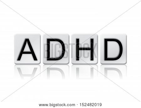 Adhd Isolated Tiled Letters Concept And Theme