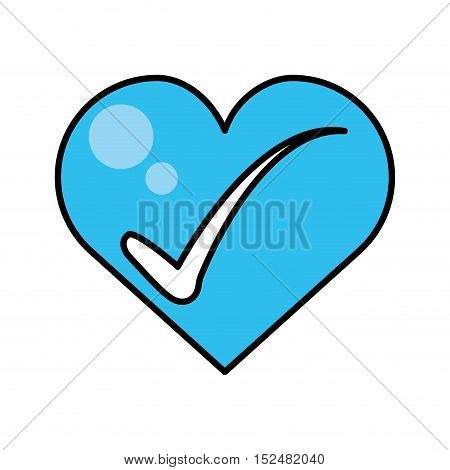 heart with check icons vector illustration design