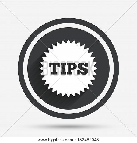 Tips sign icon. Star symbol. Service money. Circle flat button with shadow and border. Vector