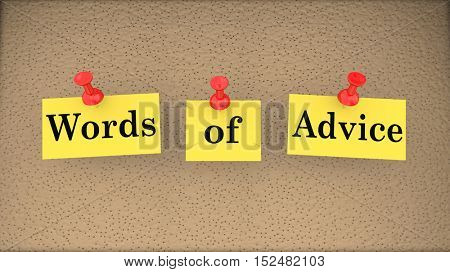 Words of Advice Help Assistance Support Bulletin Board 3d Illustration