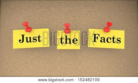 Just the Facts Basic Information Bulletin Board 3d Illustration