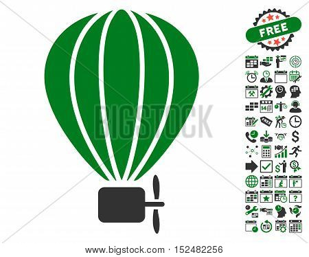 Aerostat Balloon pictograph with bonus calendar and time service pictograms. Vector illustration style is flat iconic symbols, green and gray colors, white background.