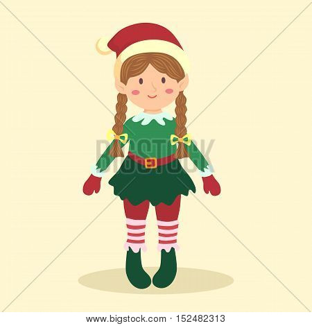 Vector illustration of Christmas greeting card with elf girl on simple cream background.