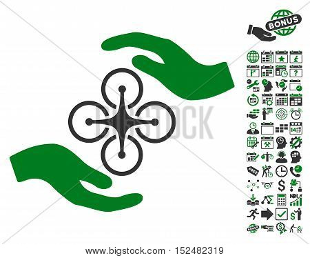 Air Copter Care Hands icon with bonus calendar and time service graphic icons. Vector illustration style is flat iconic symbols, green and gray colors, white background.