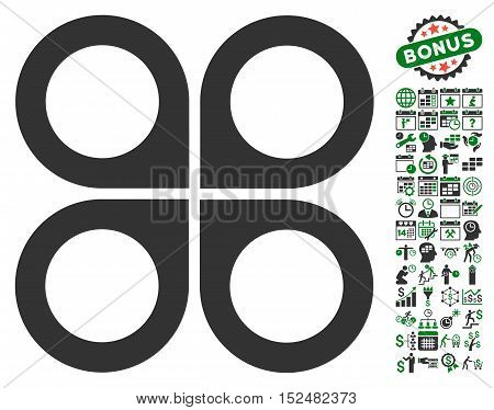 Air Drone pictograph with bonus calendar and time service clip art. Vector illustration style is flat iconic symbols, green and gray colors, white background.