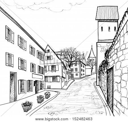Street in old city. Cityscape - houses, buildings, tree on alleyway. Old city view. Medieval european castle wall landscape. Engraving sketching illustration
