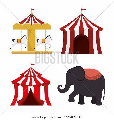 set circus elements festival entertainment vector illustration eps 10